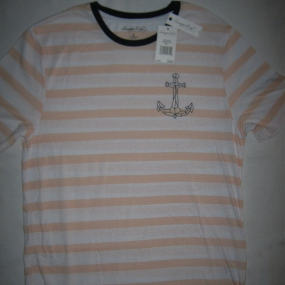 Sovereign Code Other - Sovereign Code Striped Anchor Tee Pink T-Shirt L